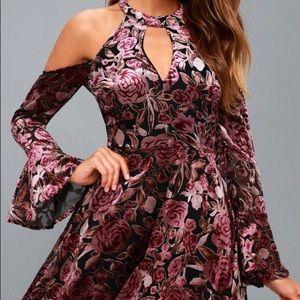 Purple Velvet Floral Cold-Shoulder Skater Dress